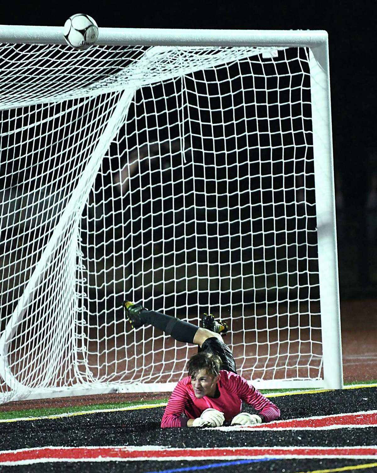 Colonie goal keeper Jonas Clapper saves the ball from going into the net during a soccer game against Mechanicville on Monday, Oct. 1, 2018 in Mechanicville, N.Y. (Lori Van Buren/Times Union)