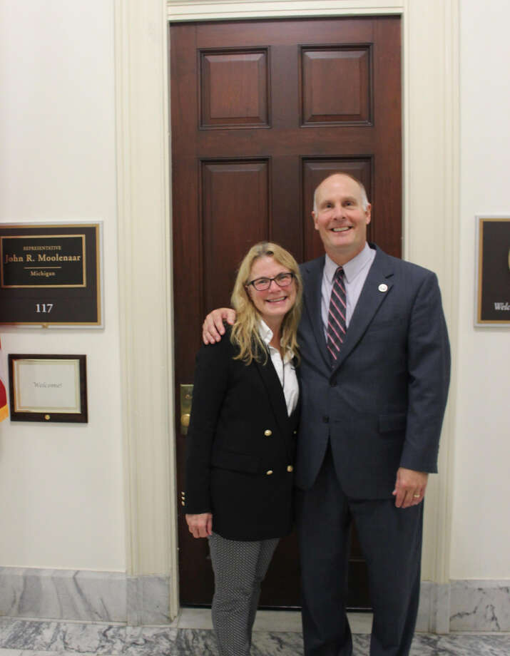 U.S. Rep. John Moolenaar meets with Jan Lampman, executive director of the Arc of Midland, at his office in Washington D.C. on Sept. 26. Lampman was honored by Moolenaar as this year's Angel in Adoption for the Fourth Congressional District. Photo: Photo Provided