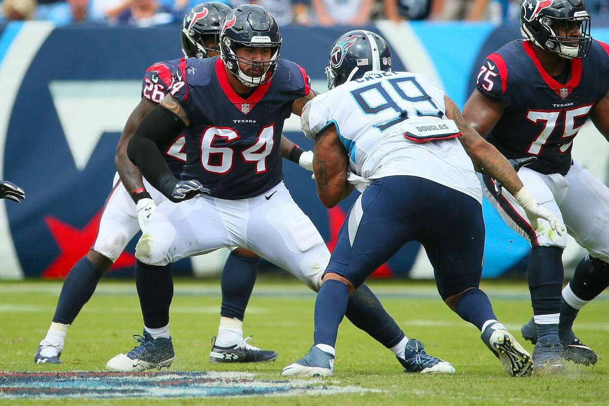 NASHVILLE, TN - SEPTEMBER 16: Senio Kelemete #64 of the Houston Texans plays against the Tennessee Titans at Nissan Stadium on September 16, 2018 in Nashville, Tennessee. (Photo by Frederick Breedon/Getty Images)