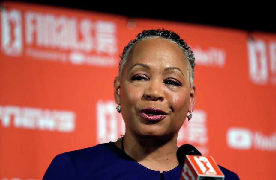 WNBA president Lisa Borders addresses media members before Game 1 of the WNBA basketball finals between the Seattle Storm and the Washington Mystics Friday, Sept. 7, 2018, in Seattle. (AP Photo/Elaine Thompson) Photo: Elaine Thompson, Associated Press / Copyright 2018 The Associated Press. All rights reserved