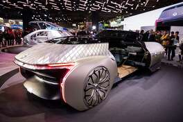 The Renault EZ-Ultimo concept car is displayed during the Paris Motor Show at Parc des Expositions Porte de Versailles on October 2, 2018 in Paris.