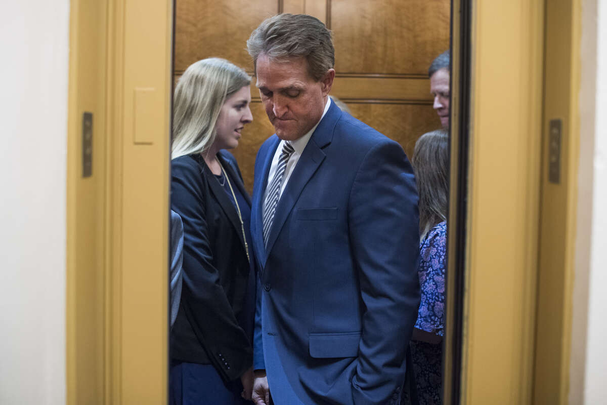 A few minutes after Sen. Jeff Flake said he would confirm Judge Brett Kavanaugh to the Supreme Court during a Senate Judiciary Committee meeting,Ana Maria Archila and Maria Gallagher held open an elevator to confront him about sexual assault.