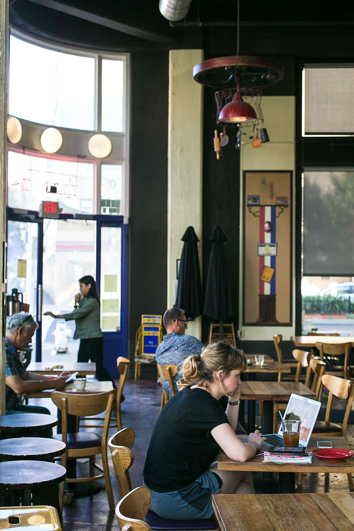 A quiet cafe, Sweet Bar Bakery, offers pastries, tea, coffee and more as part of the Hive's new food establishments in Oakland.