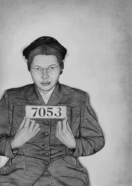 Rosa Parks, in Lava Thomas drawing of woman arrested in Montgomery bus demonstration, at Rena Bransten Gallery