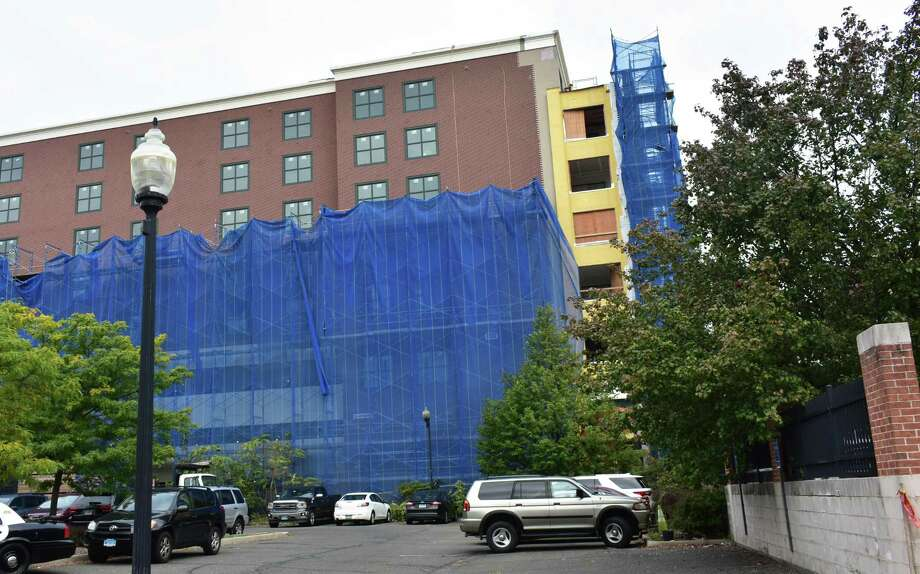 43-47 S. Main St. With its South Main Street facade still shielded with scaffolding in early October 2018, the curtain is rising on the Residence Inn by Marriott — SoNo under construction just south of the citys historic crossroads at Washington Street. As envisioned by the Stamford-based developer FD Rich, the extended-stay hotel will have just over 100 units on eight floors, providing a boost to area restaurants and other venues. Photo: Alexander Soule / Hearst Connecticut Media / Stamford Advocate