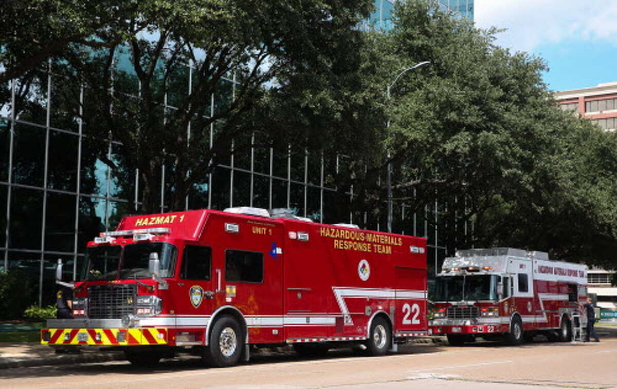 The Houston Fire Department's Hazardous Materials Response Team and Houston Police are at Phoenix Tower, where two people were hospitalized after they were exposed to a white powdery substances Tuesday. The substance was sent to the campaign office of Sen. Ted Cruz.
