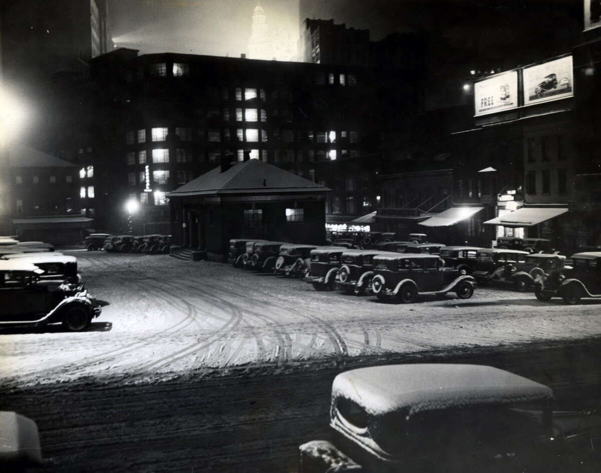 Albany Public Market at Lyon Block building on Beaver St. May 6, 1936, with snow in Albany, N.Y. The Times Union Center is housed at this site today. Between Beaver St. and Hudson Ave. where Grand St. once ran.