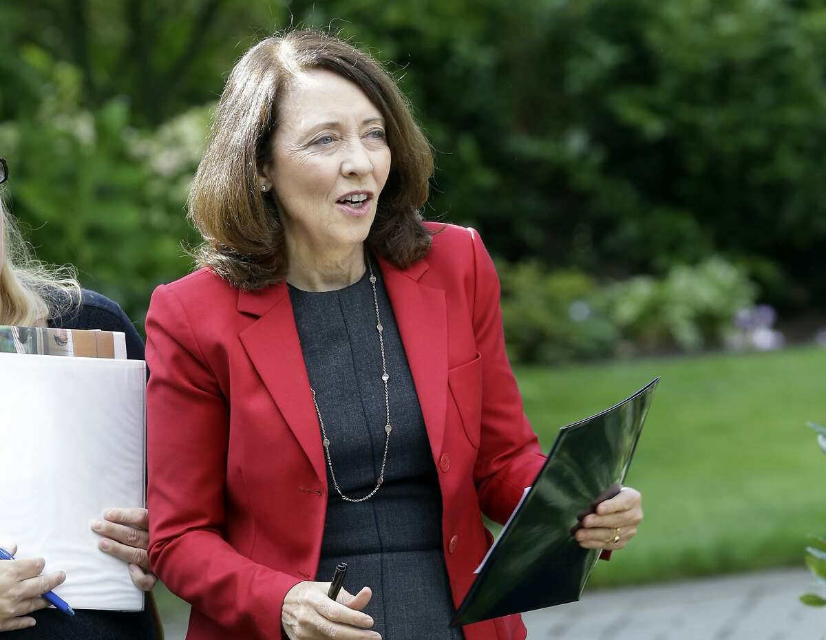 FILE - In this Sept. 10, 2018, file photo, Sen. Maria Cantwell, D-Wash., is shown at a gathering in Vancouver, Wash. A popular program that supports conservation and outdoor recreation projects across the country expired after Congress could not agree on language to extend it. The Senate Energy and Natural Resources Committee is expected to consider a bill offered by Sen. Maria Cantwell of Washington state, the panel�s top Democrat. Cantwell calls the conservation fund �the key tool� that Congress uses to help communities �preserve recreation opportunities and make the most cost-effective use of the land.� (AP Photo/Don Ryan, File)