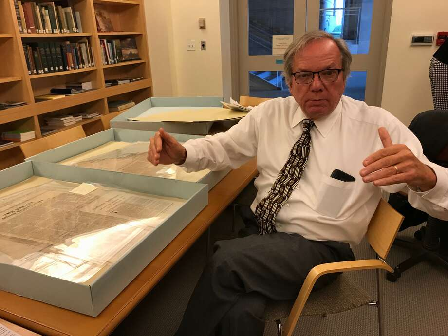 Political items collector Tom Keefe has spent months poring over the newly rediscovered political broadsides and documenting and cataloging their contents Photo: (Paul Grondahl / Times Union)