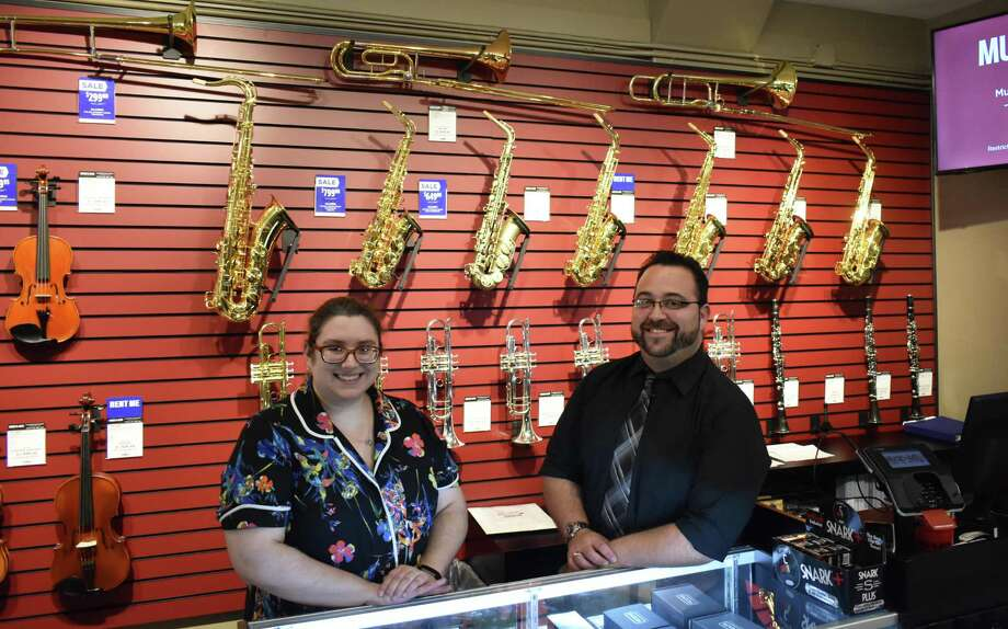 Charise Turner and Vito Calamito in September 2018 at the new Music & Arts store at 22 W. Putnam Ave. in Greenwich, Conn. Photo: Alexander Soule / Hearst Connecticut Media / Stamford Advocate