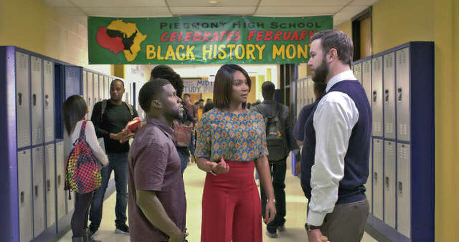 """This image released by Universal Pictures shows Kevin Hart, from left, Tiffany Haddish and Taran Killam in a scene from the film, """"Night School."""" Photo: Universal Pictures Via AP"""