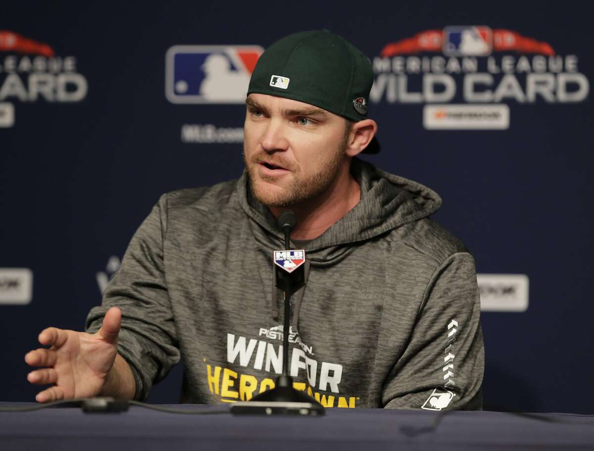 Oakland Athletics relief pitcher Liam Hendriks, of Australia, speaks during a news conference before their upcoming American League wildcard baseball game against the New York Yankees Tuesday, Oct. 2, 2018, in New York. (AP Photo/Frank Franklin II)