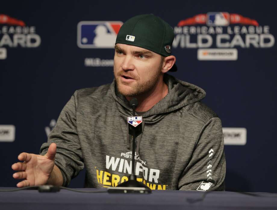 Oakland Athletics relief pitcher Liam Hendriks, of Australia, speaks during a news conference before their upcoming American League wildcard baseball game against the New York Yankees Tuesday, Oct. 2, 2018, in New York. (AP Photo/Frank Franklin II) Photo: Frank Franklin II / Associated Press
