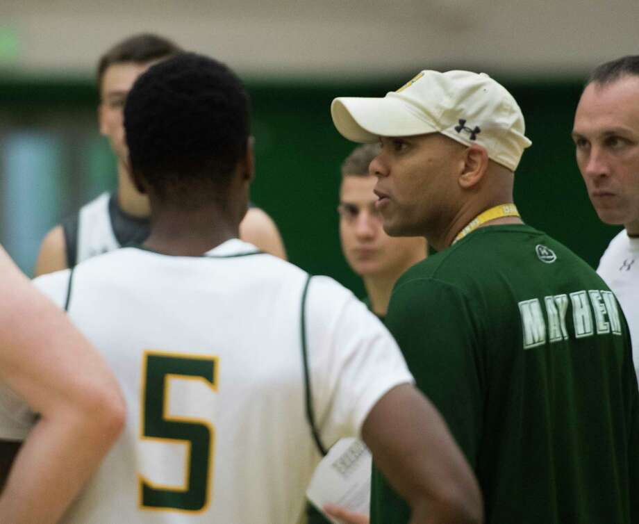 Head Coach Jamion Christian addresses the team during open practice for the Siena College Men's Basketball Team at the Alumni Recreation Center on the Siena Campus Tuesday Oct. 2, 2018 in Loudonville, N.Y. (Skip Dickstein/Times Union) Photo: SKIP DICKSTEIN, Albany Times Union / 20044987A