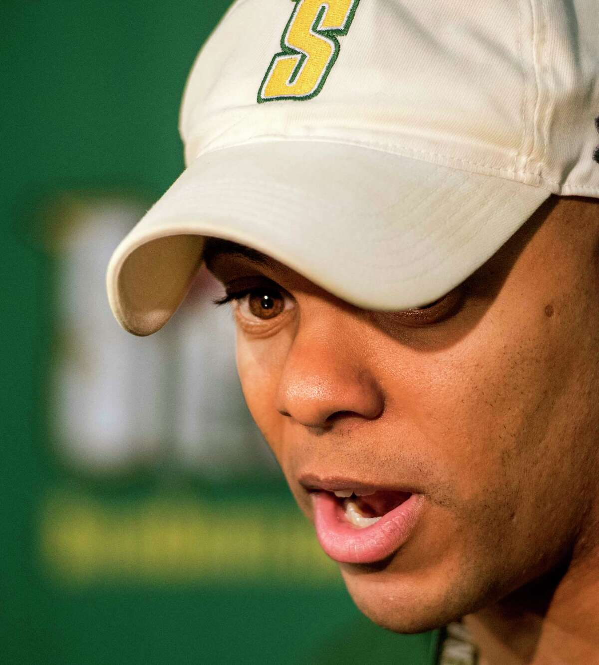Head Coach Jamion Christian speaks to the media during open practice for the Siena College Men's Basketball Team at the Alumni Recreation Center on the Siena Campus Tuesday Oct. 2, 2018 in Loudonville, N.Y. (Skip Dickstein/Times Union)