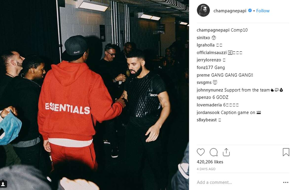 """""""Comp10,"""" Drake captioned this photo of himself and Spurs' DeMar DeRozan."""