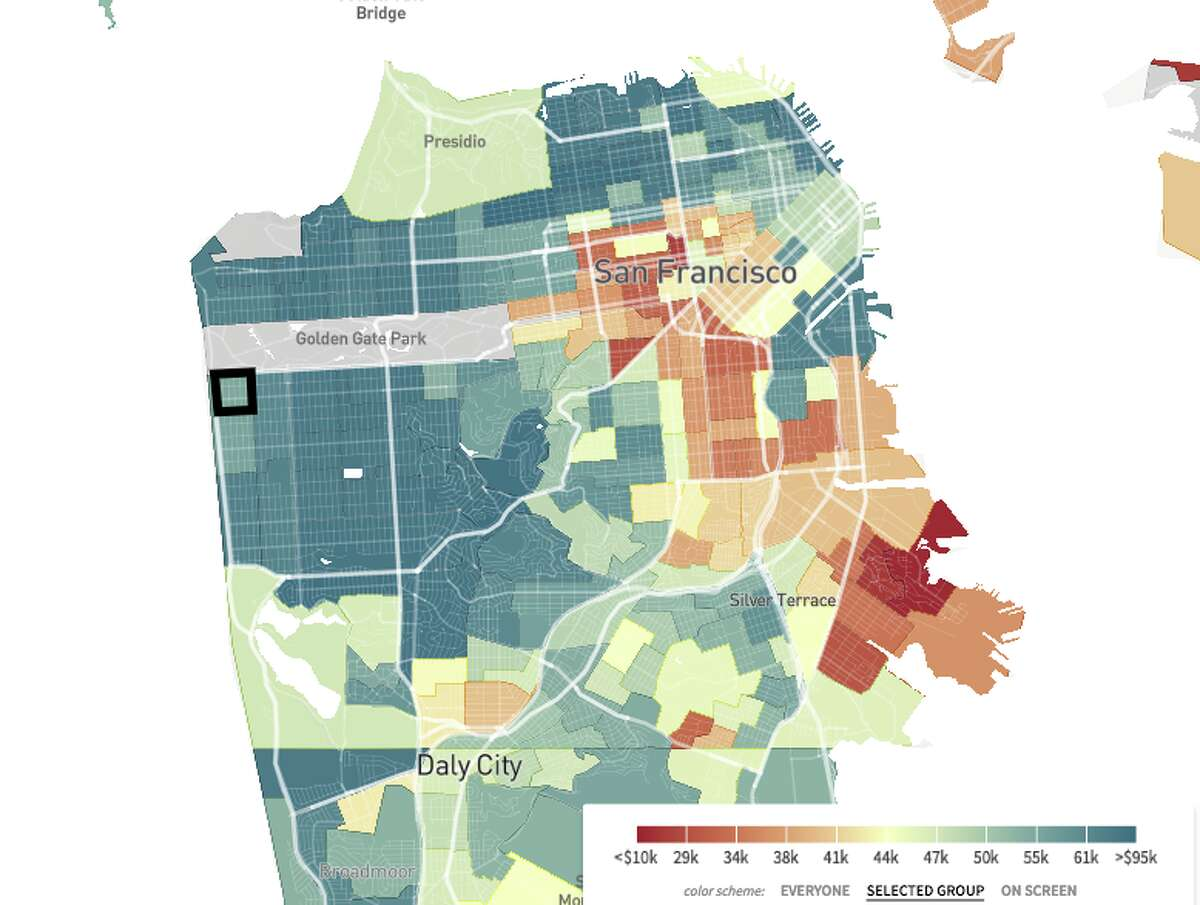 The median household income of those born between 1978 and 1983, based on which neighborhoods they grew up in. Red indicates a lower income and blue indicates a higher income.