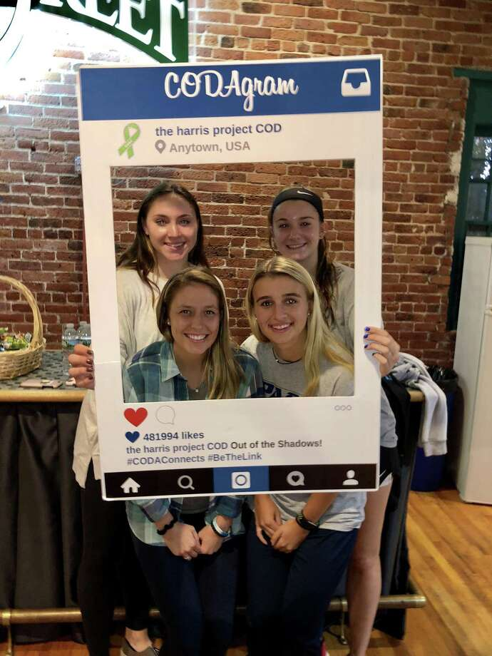 Pace University students who work with Stephanie Marquesano Amanda Dickerson, Victoria Kealey, Alexandra Maitland-Ward and Taylor Ganis, pose at the Arch Street Teen Center. Marquesano presented on how stress is connected to mental health challenges and substance abuse. Photo: Contributed