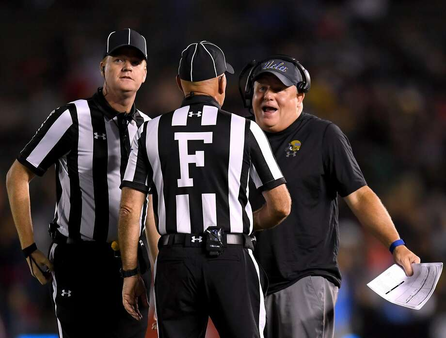 UCLA head coach Chip Kelly argues a call during the Bruins' Sept. 15 loss to Fresno State. Photo: Harry How / Getty Images