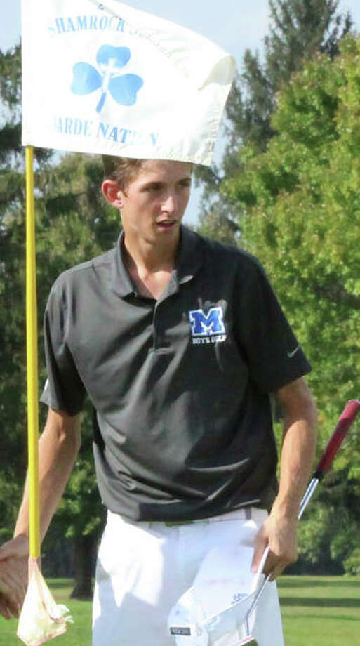 Marquette's Kolten Bauer turns to walk off the 18th green after shooting 80 in the Jacksonville Class 2A Regional at The Links in Jacksonville. Photo: Greg Shashack / The Telegraph