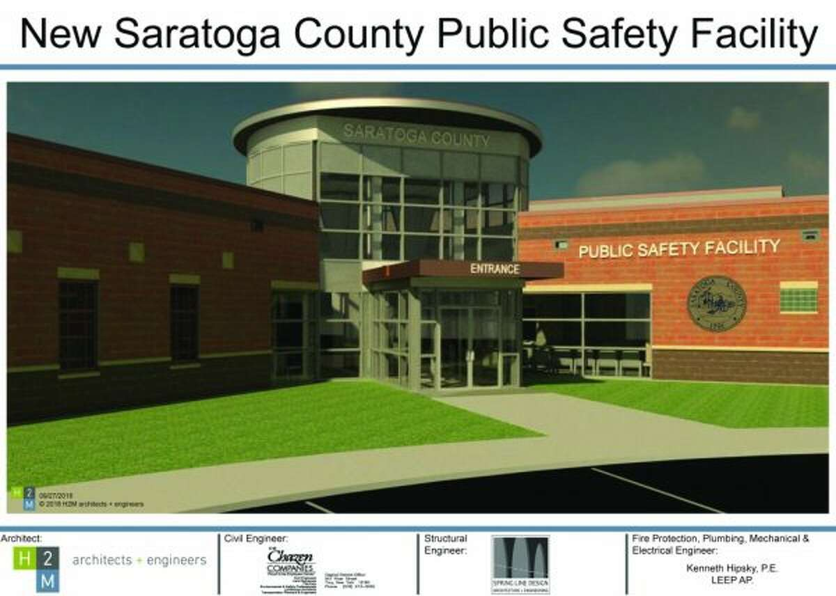 Rendering of the $28 million Saratoga County public safety facility that was opened in August and has sewage problems already.
