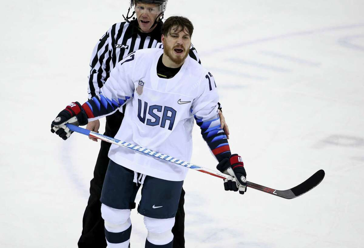 GANGNEUNG, SOUTH KOREA - FEBRUARY 17: Chris Bourque of United States during the Men's Ice Hockey Preliminary Round between USA and Olympic Athletes from Russia at Gangneung Hockey Centre on February 17, 2018 in Gangneung, South Korea. (Photo by Jean Catuffe/Getty Images)