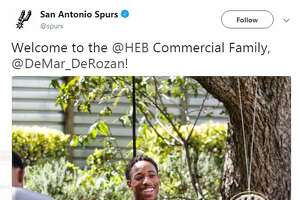 The San Antonio Spurs shared a photo on its Twitter account of newcomer DeMar DeRozan filming a commercial for H-E-B.