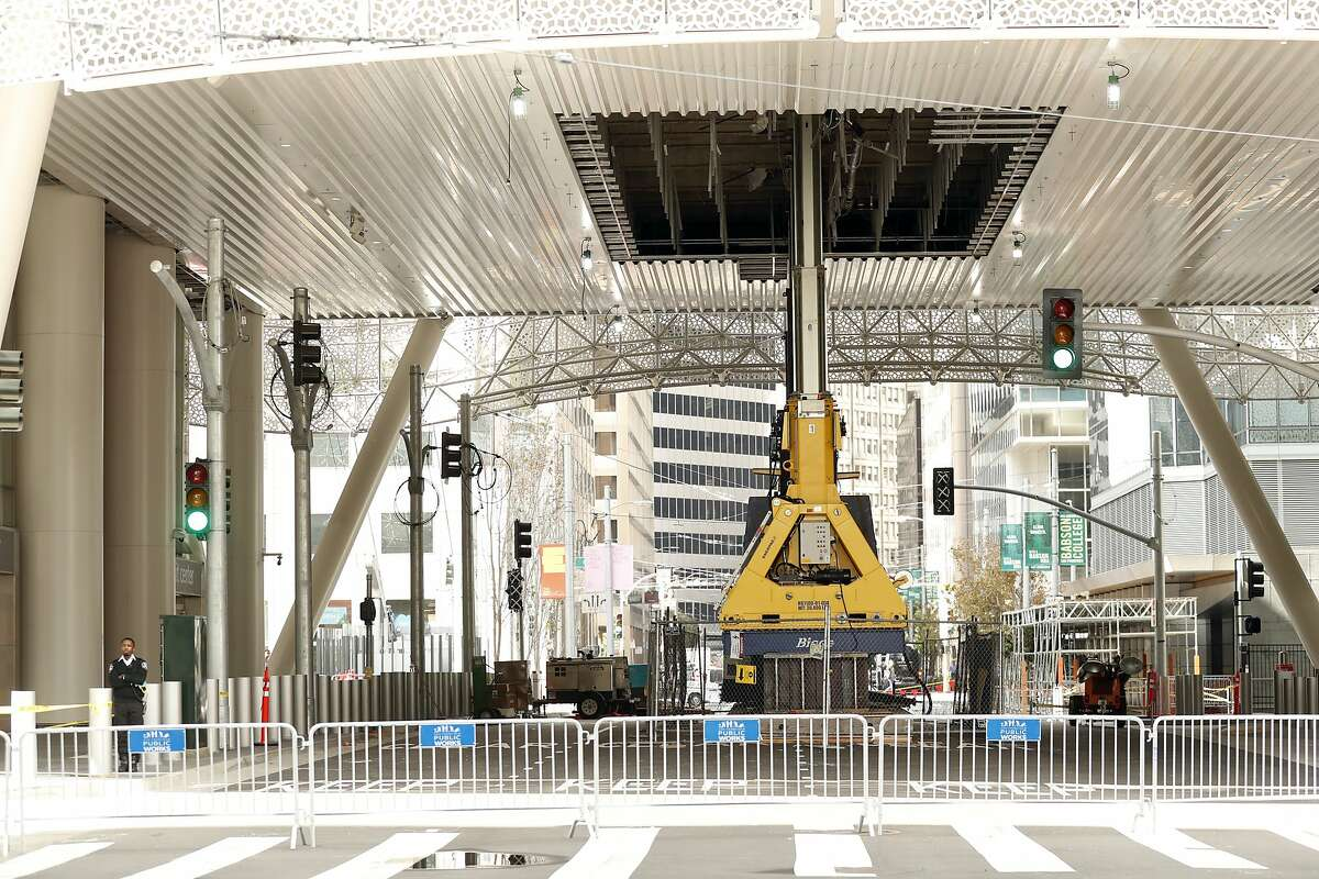 Hydraulic jacks help support the Salesforce Transit Center's Fremont Street rooftop park in San Francisco, Calif. on Tuesday, October 2, 2018.