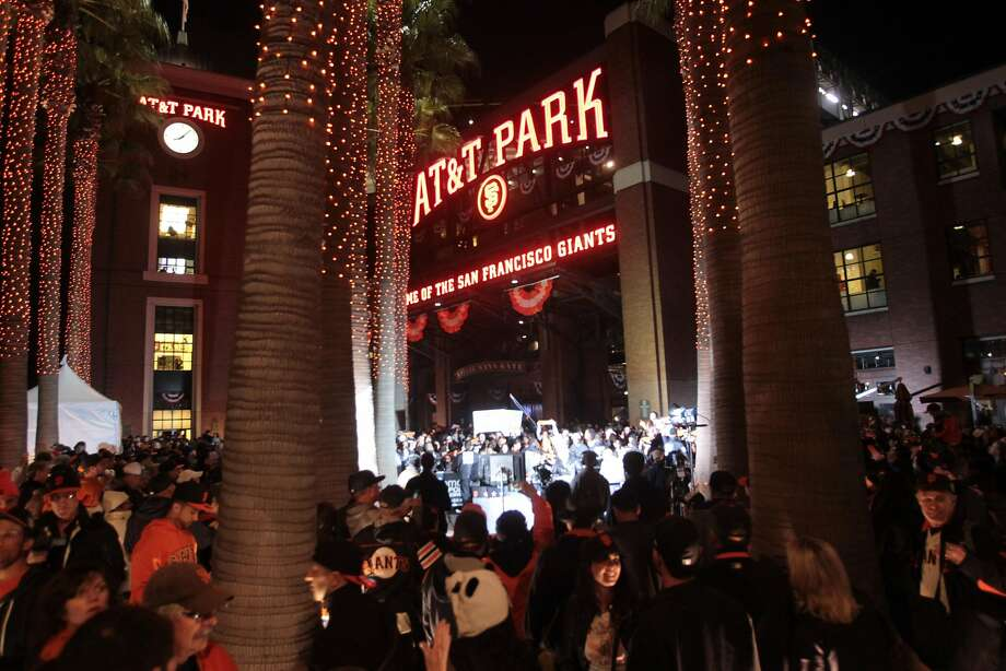 Fans streaming out of AT&T Park after weeknight games could get an extra half-hour of sleep because of the game-time changes. Photo: Mathew Sumner / Special To The Chronicle