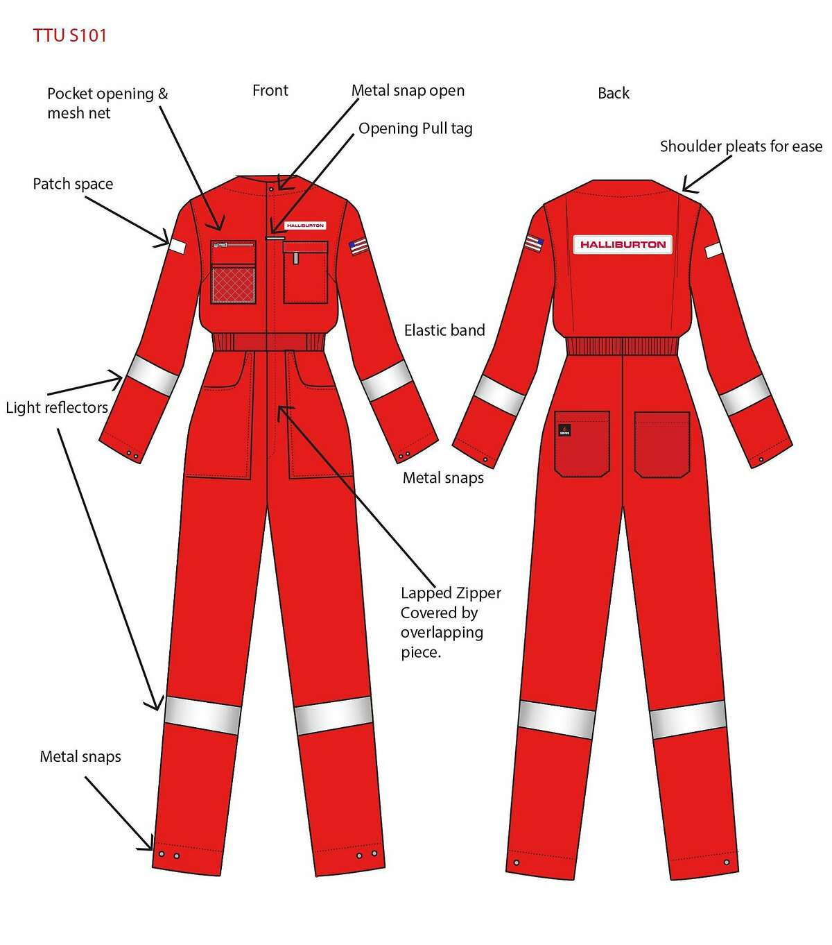 Sketch of a Halliburton coverall as being designed at Texas Tech University's Apparel and Manufacturing Design Department.