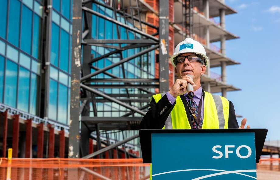 Airport head Ivar Satero speaks at the topping out of the The Grand Hyatt at SFO which will be 12 stories and should open in the summer of 2019. Photo: San Francisco International Airport