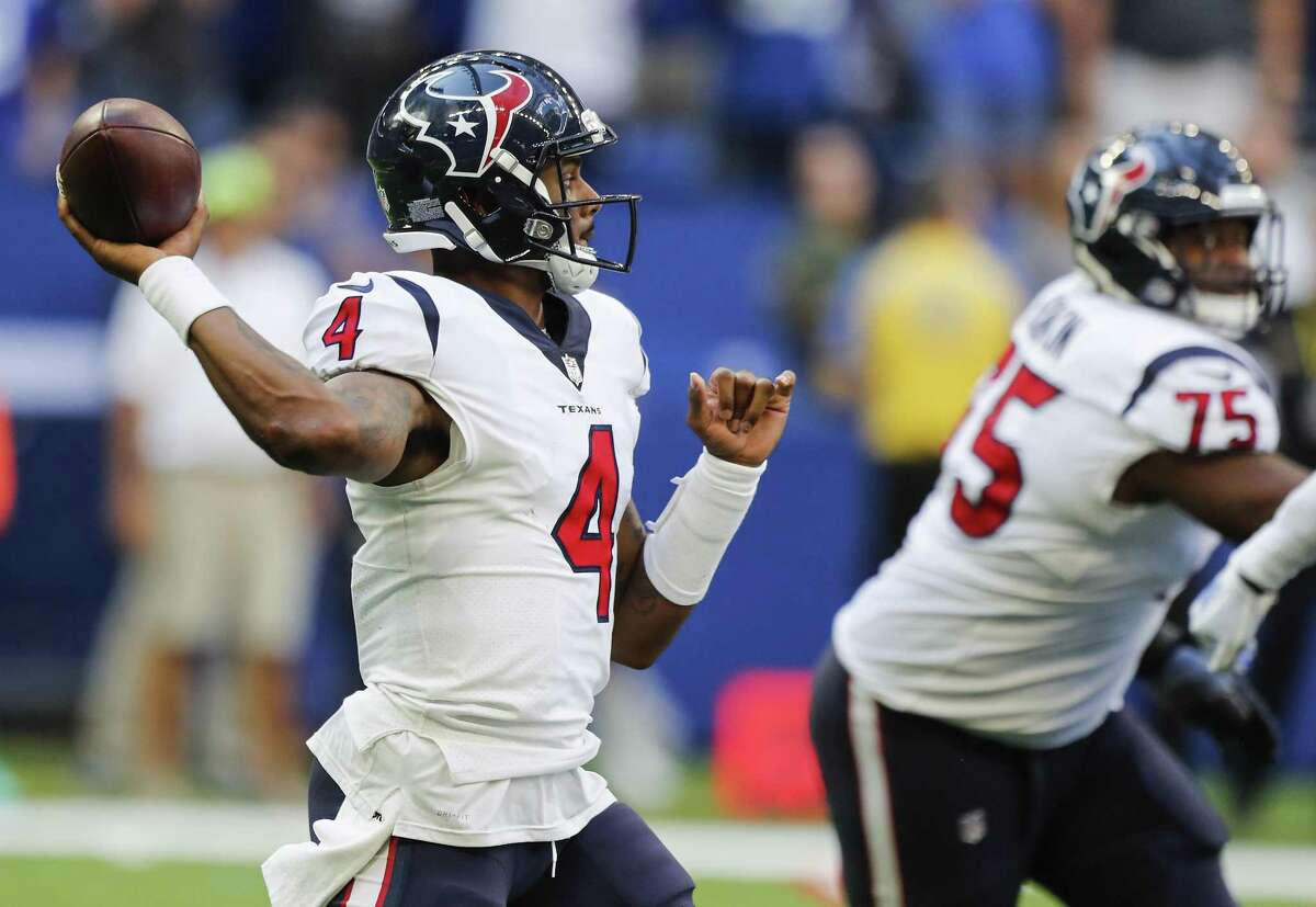 Houston Texans quarterback Deshaun Watson (4) throws a pass against the Indianapolis Colts during the second half of an NFL football game at Lucas Oil Stadium on Sunday, Sept. 30, 2018, in Indianapolis. The Texans won 37-34.