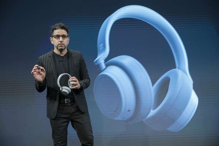 Microsoft Chief Product Officer Panos Panay introduces the Surface Headphones during a news conference, Tuesday, Oct. 2, 2018, in New York. (AP Photo/Mary Altaffer)
