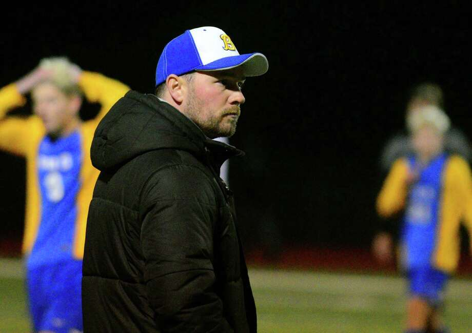 Brookfield coach David Lavery during a game against Masuk on Oct. 27. Photo: Christian Abraham / Hearst Connecticut Media / Connecticut Post