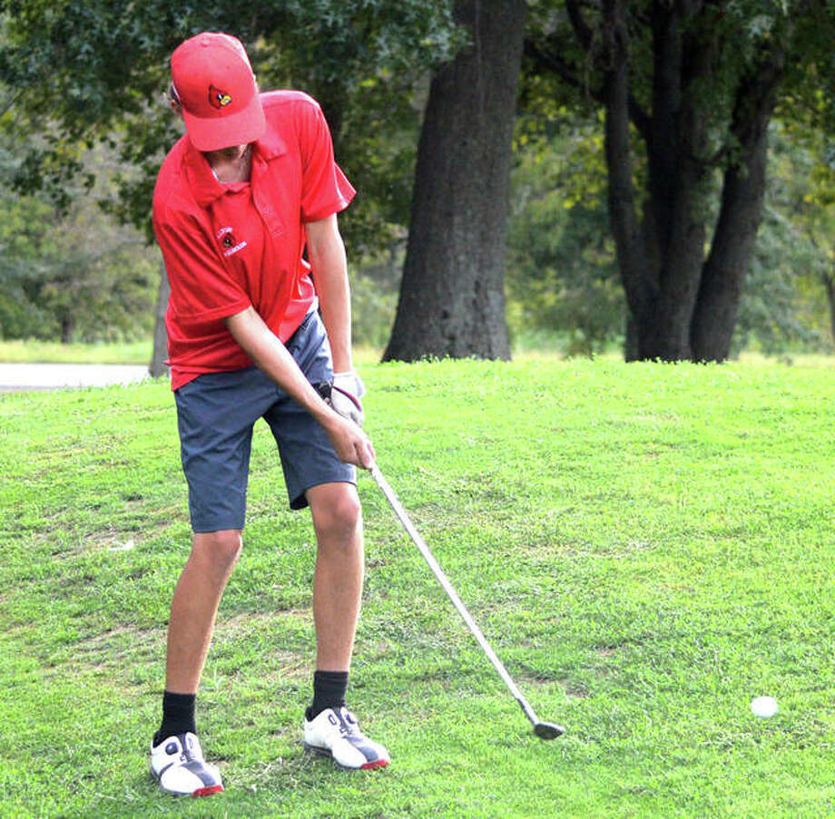 Alton's Dylan Lahue, shown playing in a tournament last month, shot 89 on Tuesday in the O'Fallon Class 3A Regional at Tamarack Country Club to miss the cut for advancing to the sectional by two shots. Photo: Scott Marion / Hearst Illinois