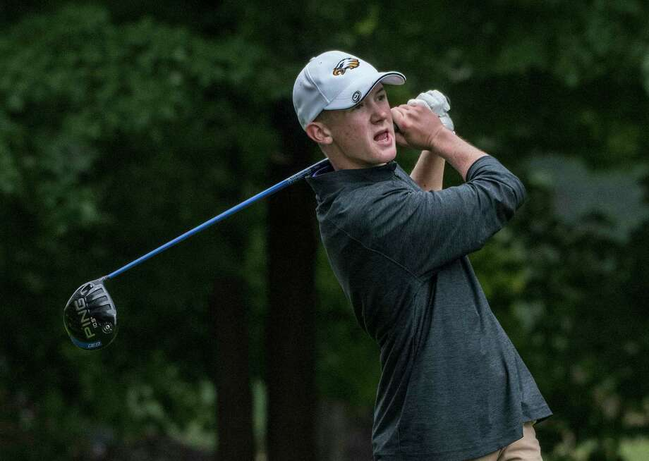 Dylan Carlson of Duanesburg High School tees off in the Secton II Class B and C/D Golf Championships at McGregor Golf Club Tuesday Oct. 2, 2018 in Wilton, N.Y. (Skip Dickstein/Times Union) Photo: SKIP DICKSTEIN / 20044994A