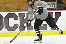 Union hockey team captain Cole Maier practices with the team on media day Tuesday, Oct. 2, 2018 in Schenectady, N.Y. (Lori Van Buren/Times Union)