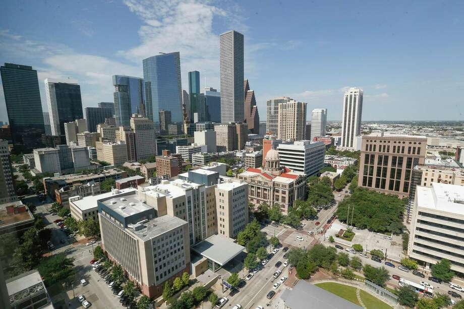 The Houston skyline photographed from the 17th floor of the Harris County Civil Courthouse, 201 Caroline Tuesday, September 18, 2018. NEXT: Find out the highest-paying jobs in Houston.  Photo: Steve Gonzales,  Houston Chronicle / Staff Photographer / © 2018 Houston Chronicle