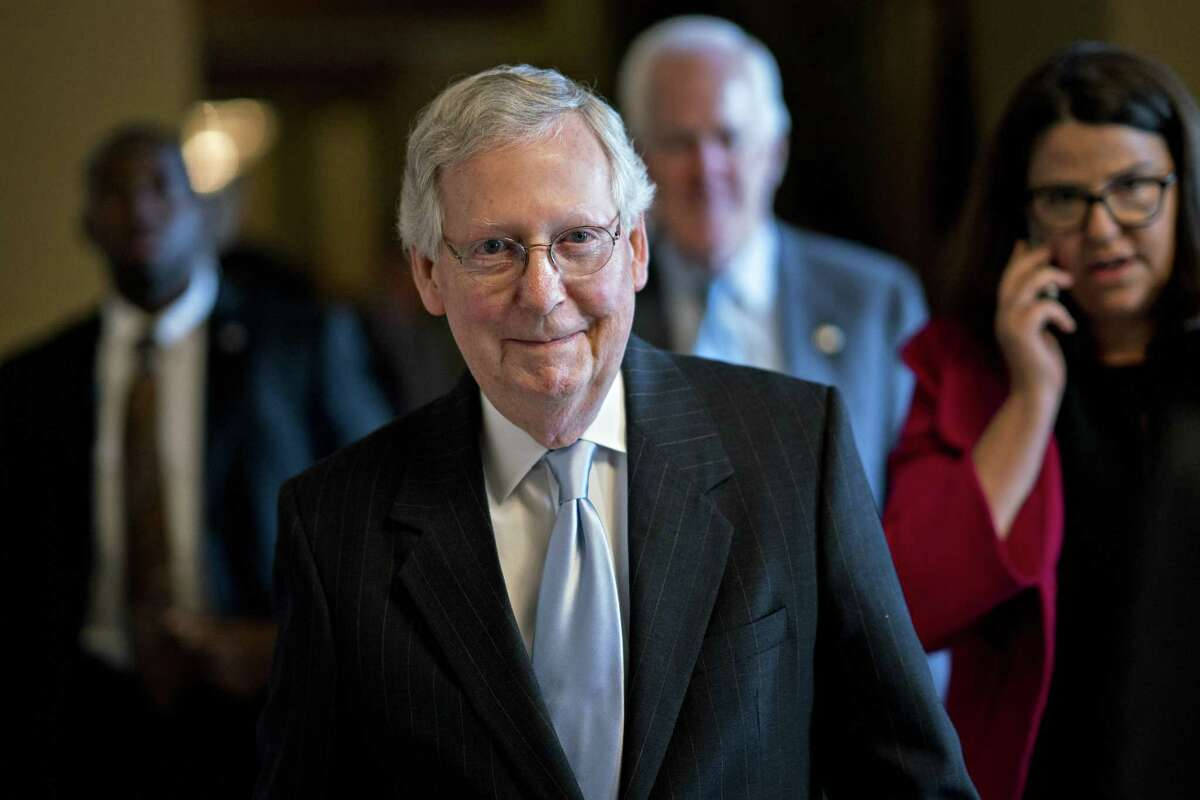 Senate Majority Leader Mitch McConnell is shown in the Senate on Capitol Hill in Washington on February 13, 2018.