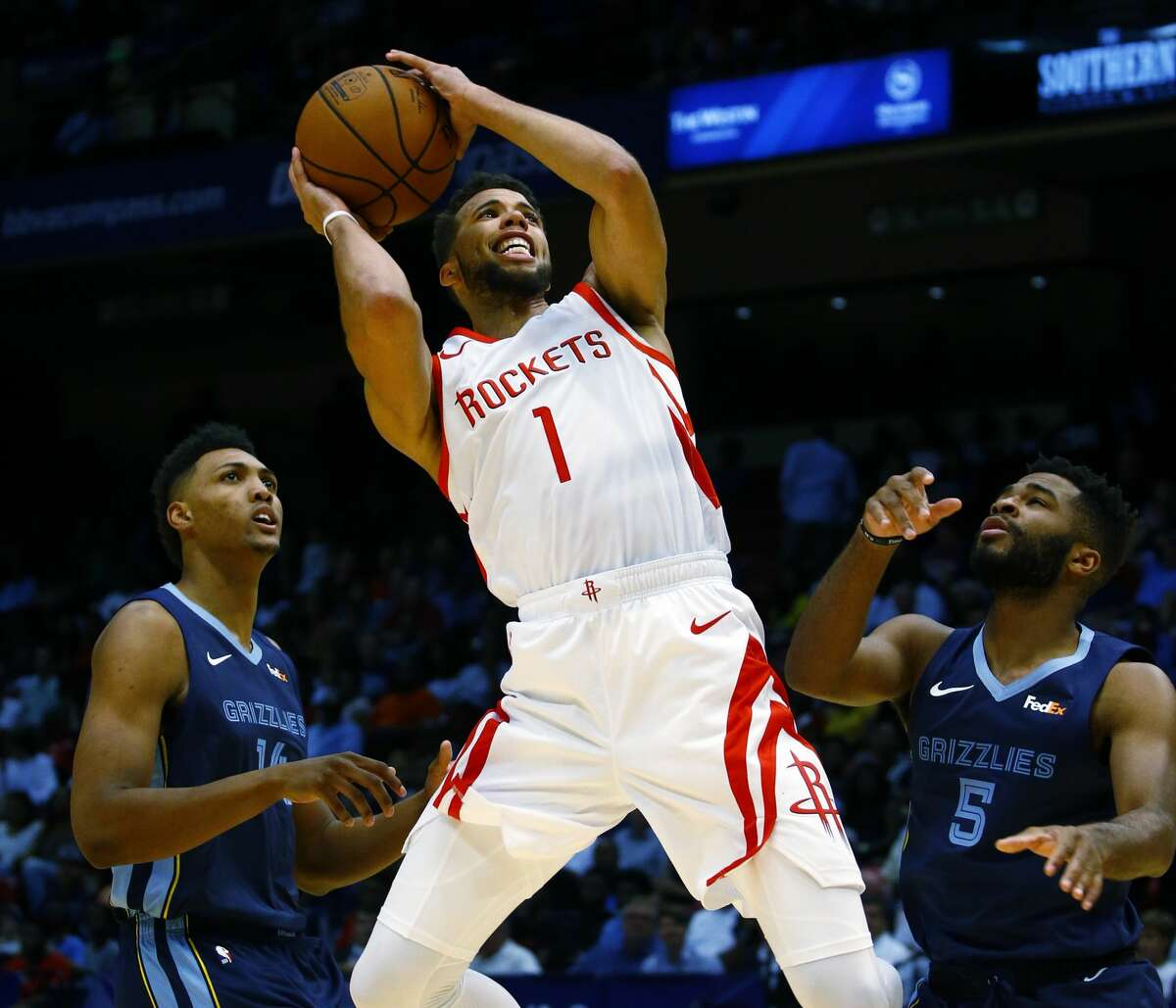 PHOTOS: Best Rockets home games in 2018-19 season Houston Rockets guard Michael Carter-Williams (1) puts up a shot over Memphis Grizzlies center Doral Moore (14) and guard Andrew Harrison (5) during the second half of a preseason NBA basketball game, Tuesday, Oct. 2, 2018, in Birmingham, Ala. Houston Rockets won 131-115. (AP Photo/Butch Dill) >>>See the Rockets' best home games of the 2018-19 season ...