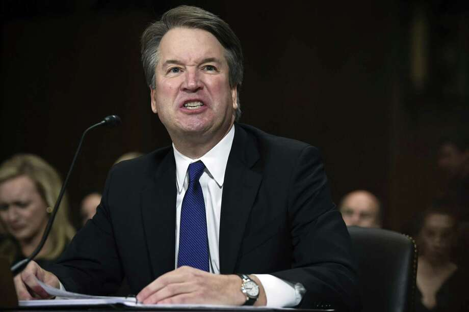 In this Sept. 27, 2018, photo, Supreme Court nominee Judge Brett Kavanaugh gives his opening statement before the Senate Judiciary Committee on Capitol Hill in Washington. Kavanaugh is blaming the Clintons for the sexual misconduct allegations against him. In doing so, the judge is drawing new attention to his time on the Kenneth Starr team investigating Bill Clinton's sexual misconduct in the 1990s. And he's shown he can deliver a Trump-like broadside against detractors even if it casts him in a potentially partisan light. (Saul Loeb/Pool Image via AP) Photo: Saul Loeb, POOL / Associated Press / POOL