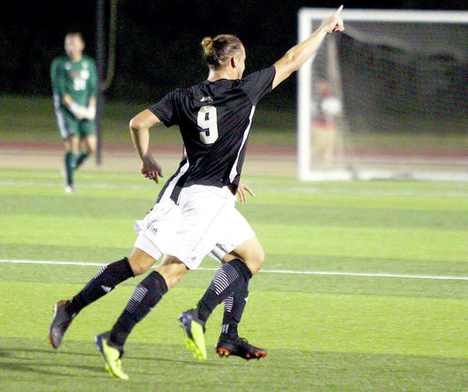 Lachlan McLean of SIUE scored the winning goal with two minutes left in Tuesday night's win over IUPUI in Indianapolis. He is shown celebrating a goal in SIUE's recent win over Belmont. Photo: SIUE
