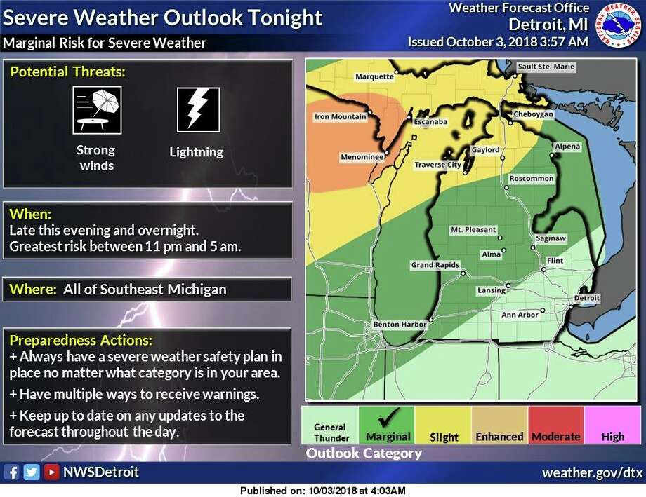 There is a Marginal Risk for severe thunderstorms this evening and tonight. The potential exists for damaging wind gusts to 60 mph and cloud to ground lightning for all of Southeast Michigan. The time period of greatest threat for thunderstorm activity will be between 11 PM EDT and 5 AM EDT. Shower and thunderstorm activity will end by daybreak Thursday. Photo: National Weather Service Detroit