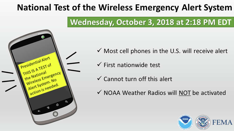 On Wednesday, October 3, 2018, the federal government will be conducting its first nationwide test of the Wireless Emergency Alert System. Your cell phone will likely receive this alert on or just after 2:18 PM EDT. You will also see television and radio stations activated for a similar test a few minutes later. Your NOAA Weather Radio will not be activated during these tests, but it WILL receive its regularly scheduled test earlier that morning, at about 11:15 EDT. Photo: National Weather Service