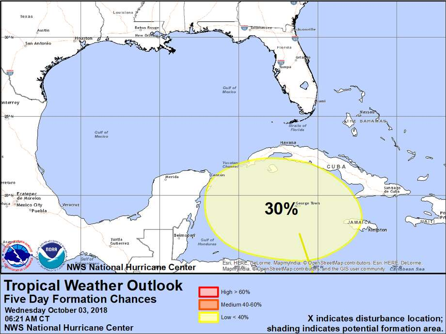 A broad area of low pressure in the southwestern Caribbean that is being monitored by the National Hurricane Center.