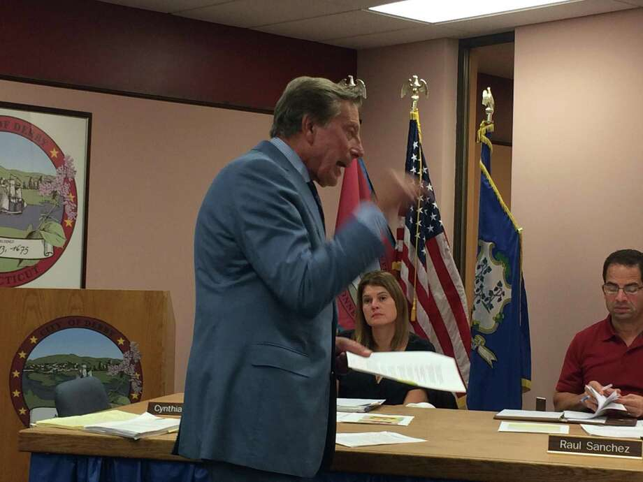 Charles Willinger, a Bridgeport land use lawyer, drives home his claims to the Derby Planning and Zoning Commission that the Derby Development District as written violates state law. Willinger represents 26 homeowners who are adjacent to The Hops Co. Photo: /