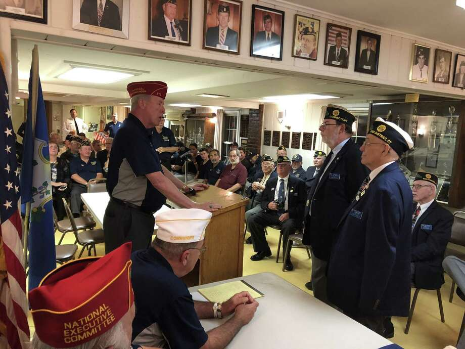National Commander Brett P. Reistad visited American Legion Post 76 in North Haven Tuesday, marking its success building membership and the opening of a new post in New Haven. Photo: Ben Lambert / Hearst Connecticut Media