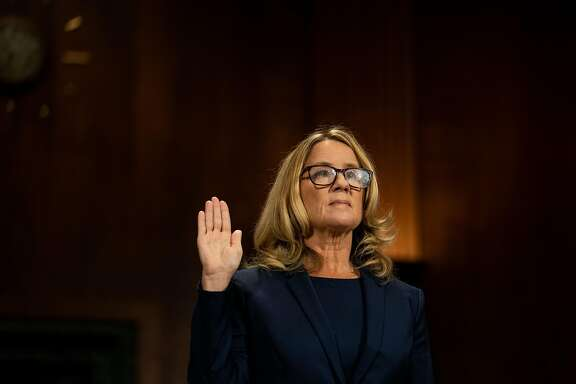 Christine Blasey Ford is sworn in to testify before the Senate Judiciary Committee on Capitol Hill in Washington, Sept. 27, 2018. In a sworn statement to the Senate, a man who said he dated Dr. Blasey for six years contradicted her testimony about her experience with polygraph tests. (Erin Schaff/The New York Times)