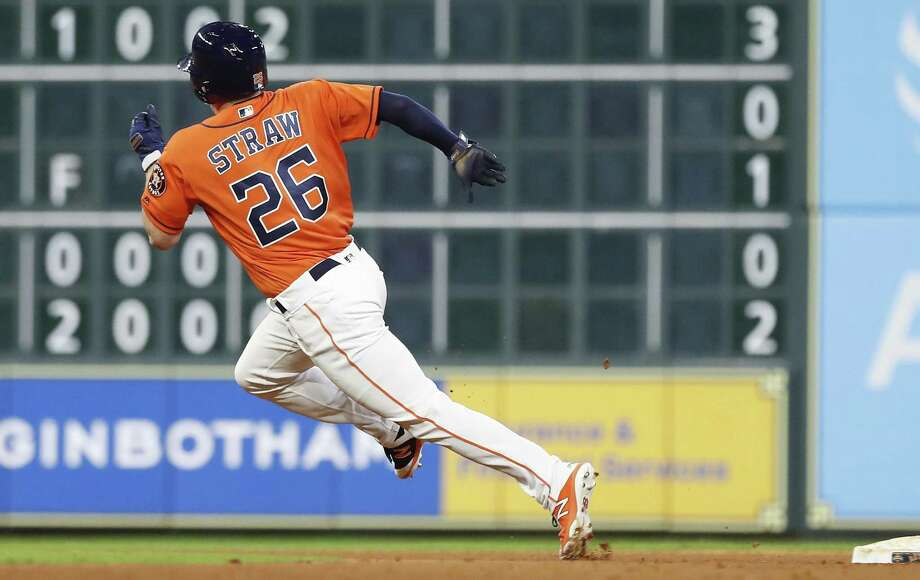 PHOTOS: Shots from Myles Straw's first nine big league games Myles Straw stole 70 bases in 79 attempts in the minors this year and was 2-for-2 in the majors after his September call-up. Photo: Karen Warren, Houston Chronicle / Staff Photographer / © 2018 Houston Chronicle