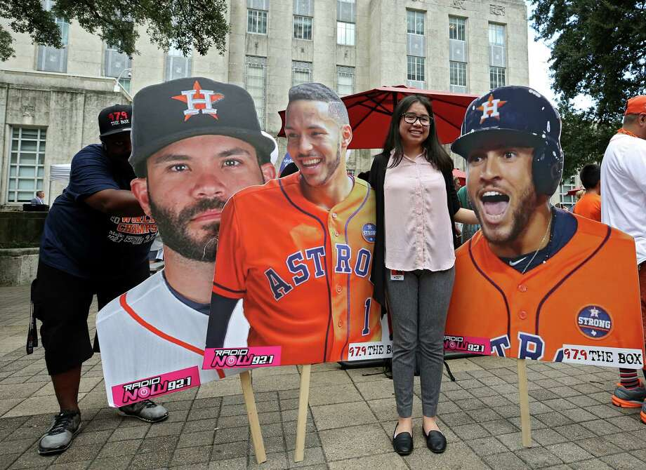 PHOTOS: A look at the Astros' postseason rally at City Hall Houston Astros fan Genesis Alvarez, 17, poses alongside player cutouts while attending the playoff rally outside City Hall Wednesday, Oct. 3, 2018, in Houston. Browse through the photos above for a look at fans at the Astros' rally at City Hall ... Photo: Godofredo A. Vasquez, Staff Photographer / 2018 Houston Chronicle